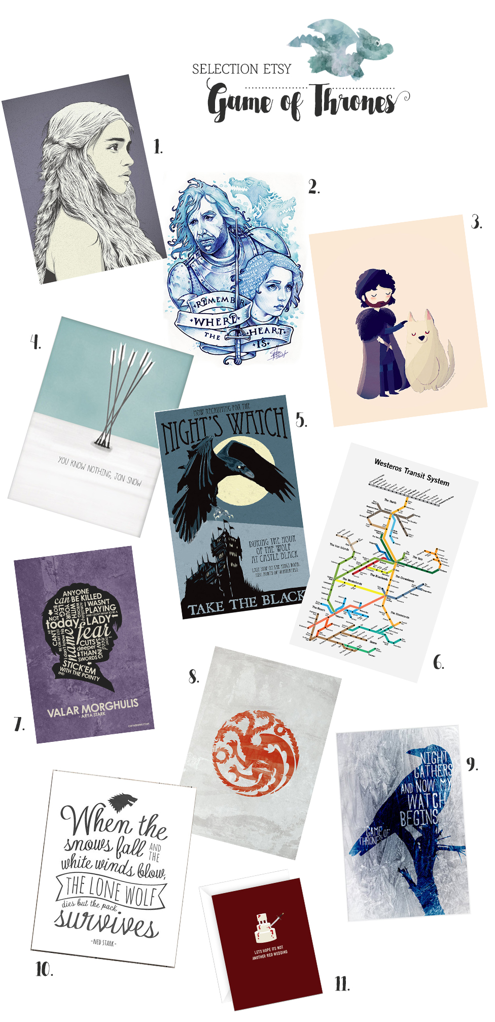 Sélection Etsy Game of Thrones